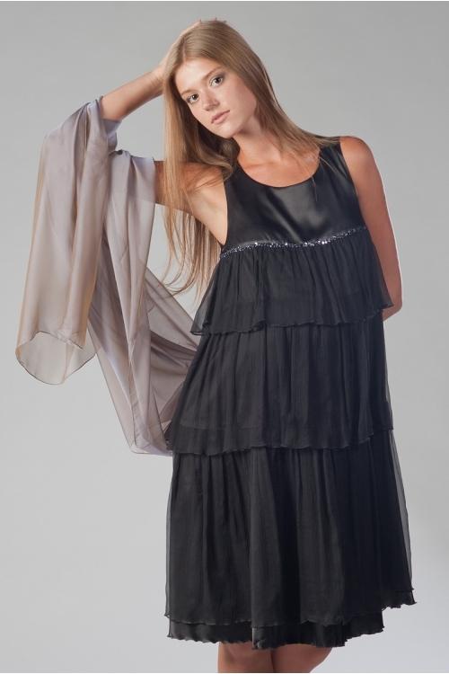4040.4107 Платье А-образного силуэта с воланами черный
