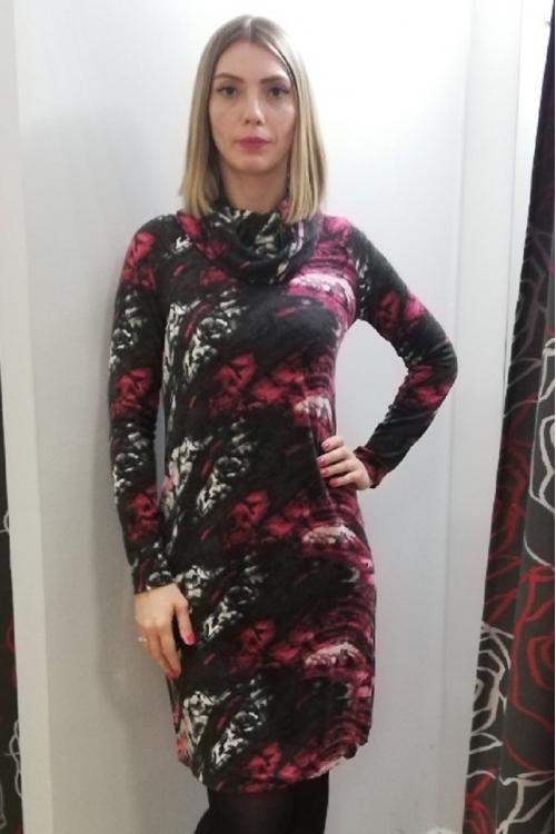 4075.1984 Платье А-образного силуэта для беременных молочно-серо-малиновый