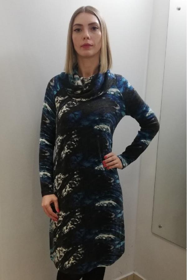4075.1985 Платье А-силуэта для беременных молочно-серо-голубой