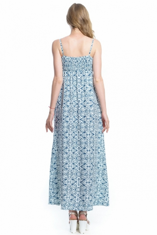 4109.4428 Платье Х-образного силуэта абстракция молочно-синий