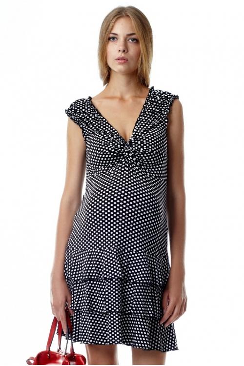 4157.082 Платье облегающего силуэта черно-белый в горошек