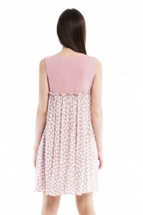 4167.3321 Платье свободного кроя розовый в горох