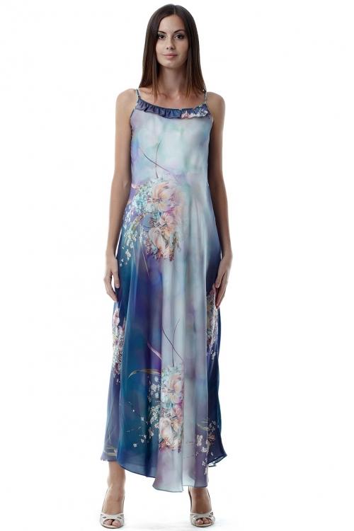 4175.4043 Платье свободного силуэта на бретелях голубой принт