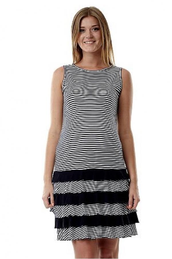 4191.1447 Летнее платье-мини для беременных с оборками бело-синий