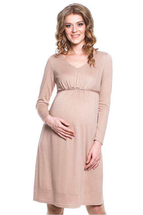 4222.3710 Платье трикотажное X-образного силуэта бежевый