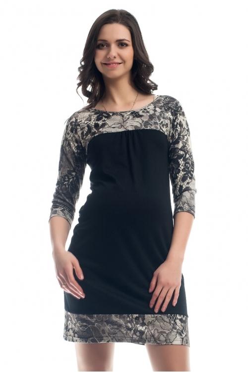 4252.4147 Платье трикотажное с рукавом c контрастной отделкой принт черно-белый
