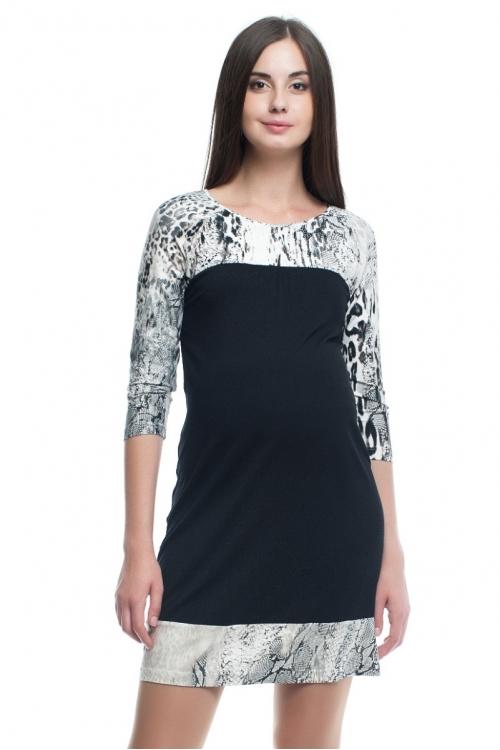 4252.1845 Платье трикотажное прямого силуэта черный+абстракция черно-белый