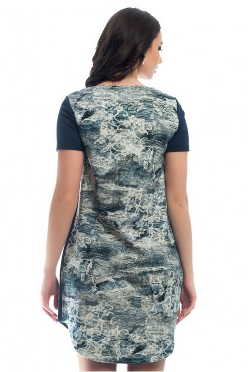 4261.3841 Платье трикотажное прямого силуэта синий + принт кружево серо-синий