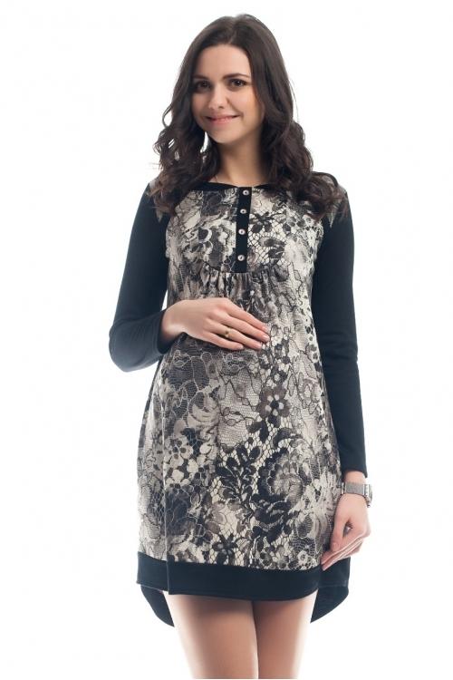 4264.297 Платье трикотажное принт черное кружево + серый меланж
