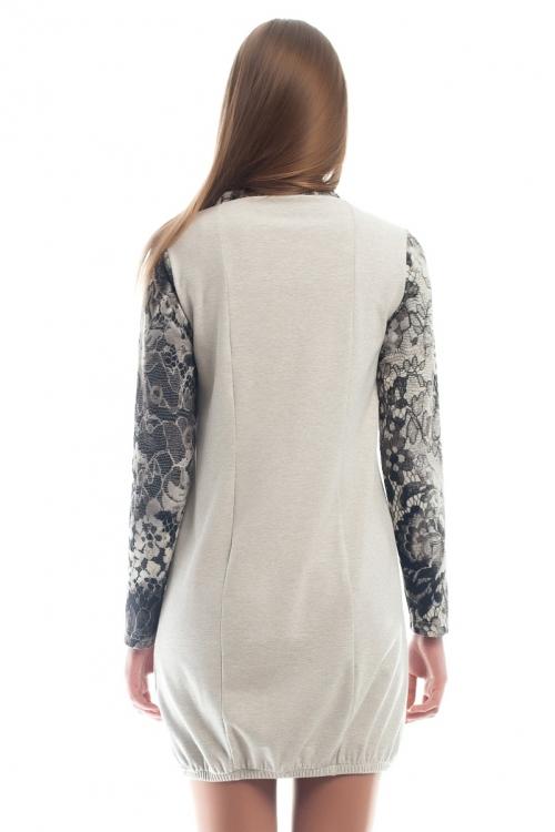 4265.3895 Платье трикотажное серый меланж + принт черный кружево + черный
