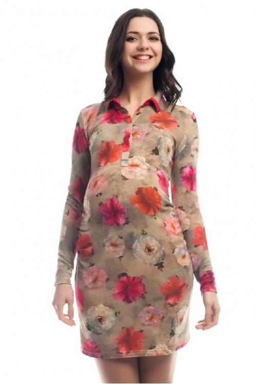 4274.160 Платье трикотажное  прямого силуэта для кормления флора розово-оливковый + коралл