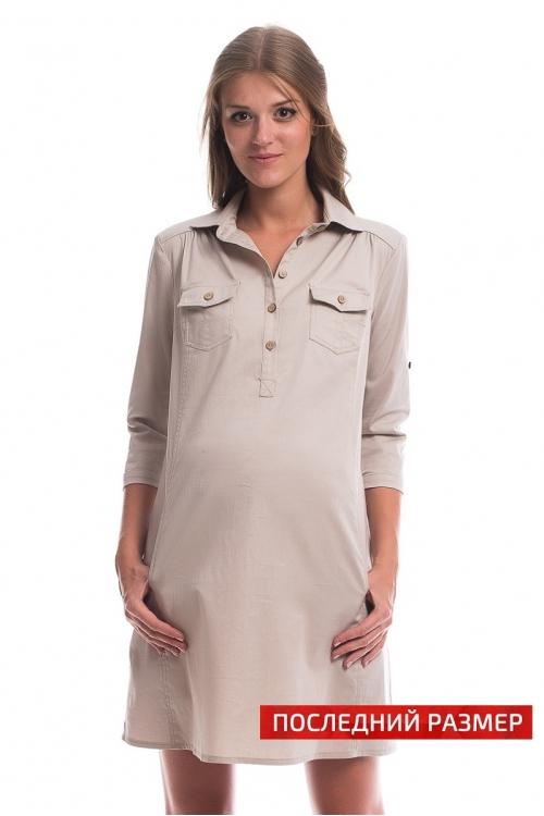 4327.2011 Платье-рубашка прямого силуэта для кормления бежевый