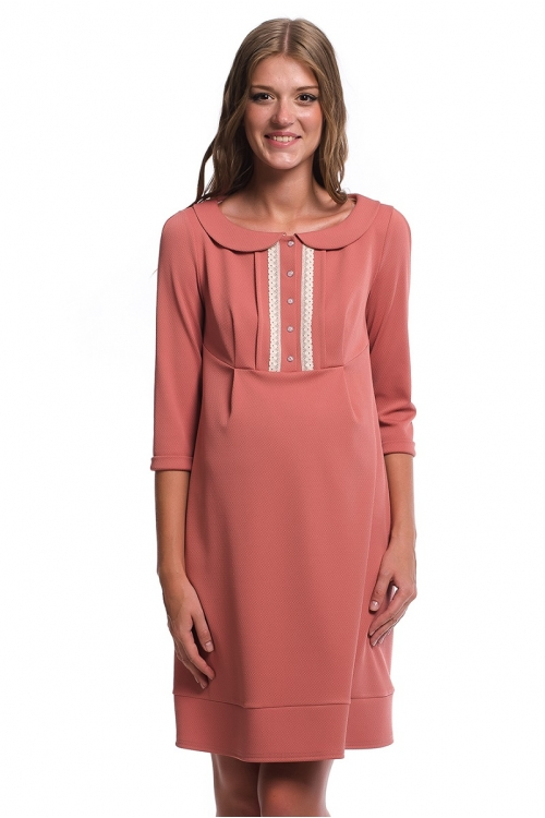 4330.324 Платье трикотажное Х-образного силуэта для кормления пудра