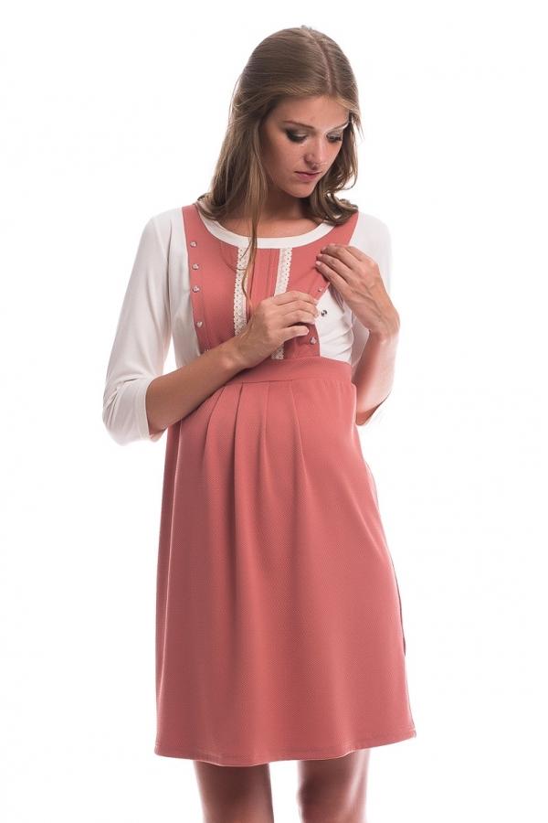 4331.324 Платье трикотажное Х-образного силуэта для кормления пепел розы+молочный