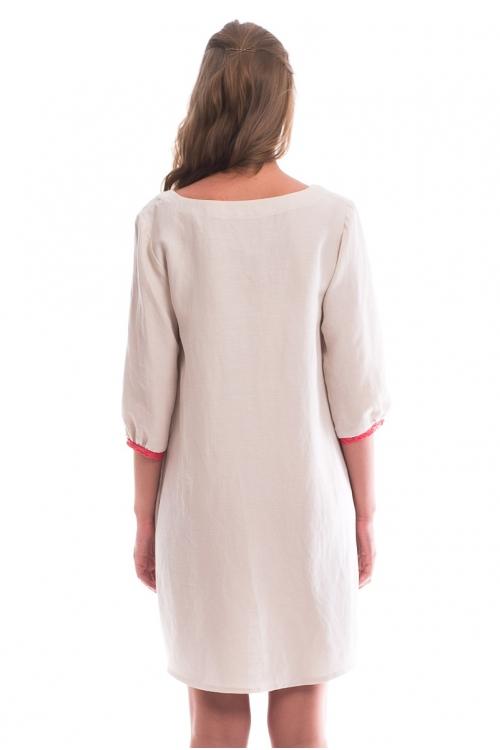 4339.2110 Платье Х-образного силуэта бежевый с коралловым