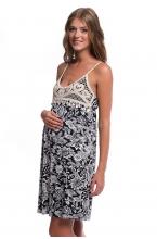 4343.3135 Платье трикотажное прямого силуэта флора черно-белый