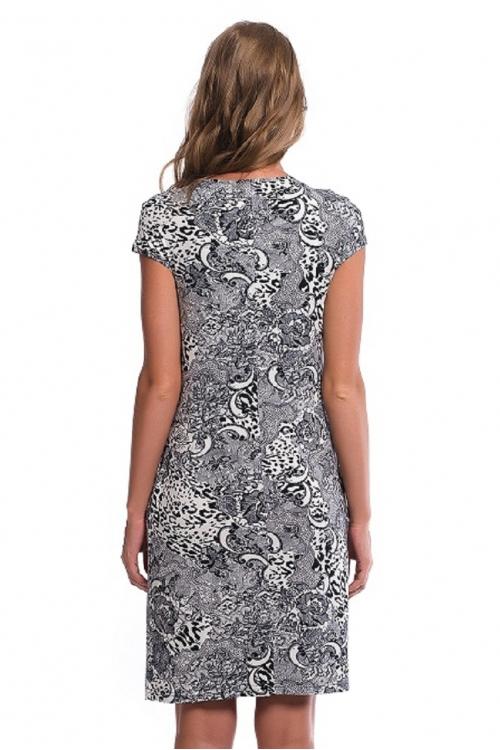 4344.3136 Платье трикотажное прямого силуэта флора черно-белый