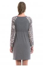 4373.3552 Платье приталенного силуэта утеплённое с рукавом серый/серо-белый принт