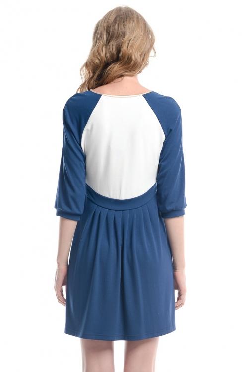 4385.3964 Платье Х-образного силуэта тёмно-синий+золото+молочный