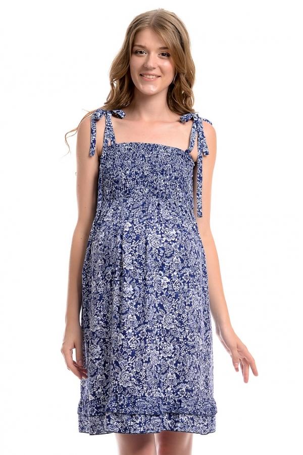 4394.4090 Платье Х-образного силуэта принт флора сине-белый