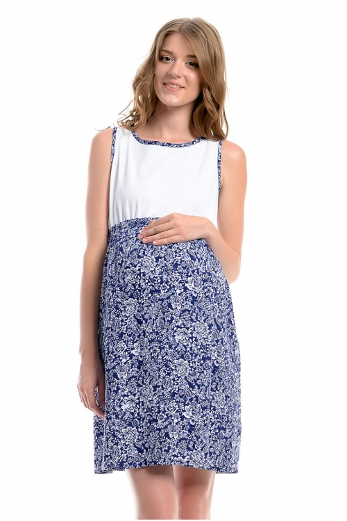 4396.4090 Платье Х-образного силуэта принт флора сине-белый+белый