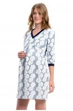 4397.4088 Платье Х-образного силуэта принт флора бело-голубой+тёмно-синий