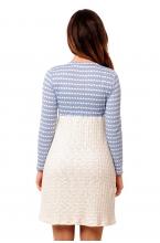 4433.4520 Платье Х-образного силуэта геометрия бело-голубой+молочный