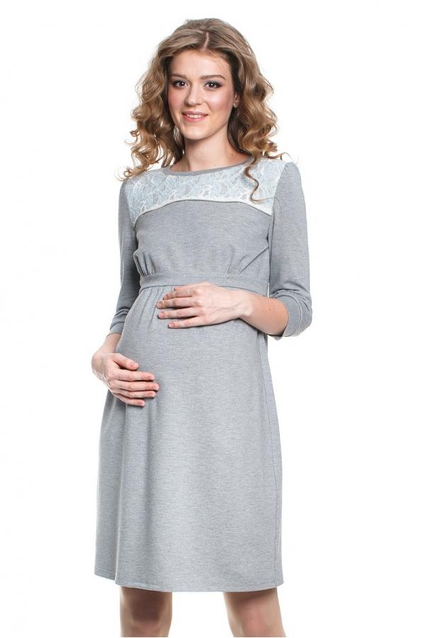 4436.322 Платье трикотажное  Х-образного силуэта серый