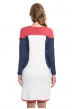 4438.431 Платье трикотажное  прямого силуэта молочный со штрихами+синий меланж