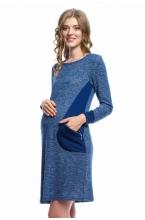 4439.3706 Платье трикотажное  прямого силуэта с контрастными карманами синий