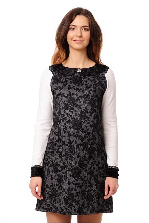 4441.4230 Платье А-образного силуэта со съемной брошью