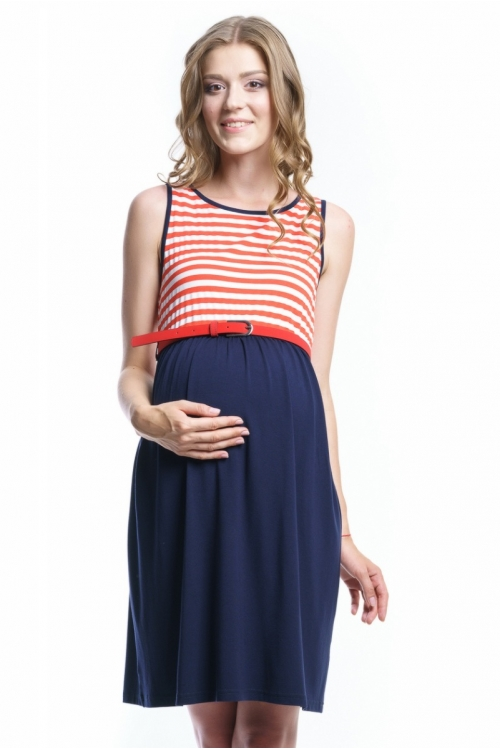 4458.088 Платье Х-образного силуэта темно синий+геометрия бело-кораловый