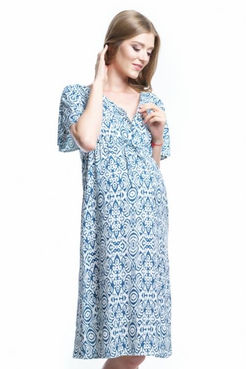 4472.4428 Платье Х-образного силуэта для кормления абстракция молочно-синий