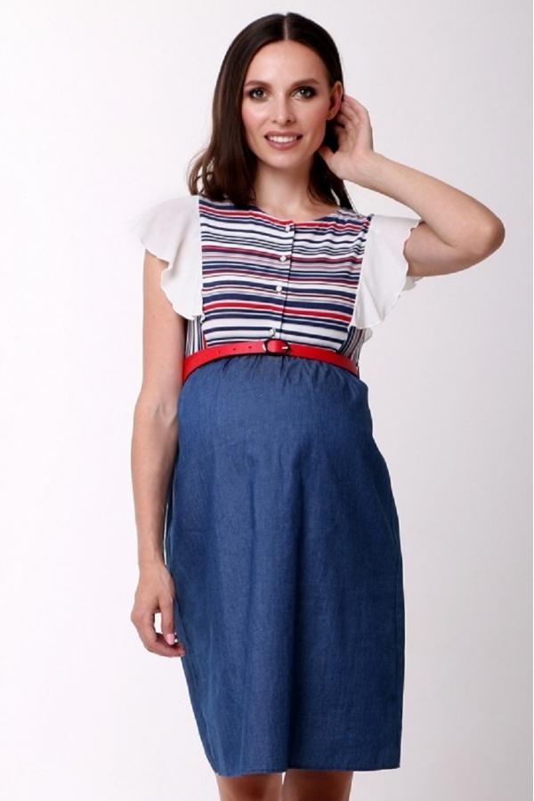 4473.1081 Платье комбинированное для кормления синий джинс/геометрия бело-синий/красный