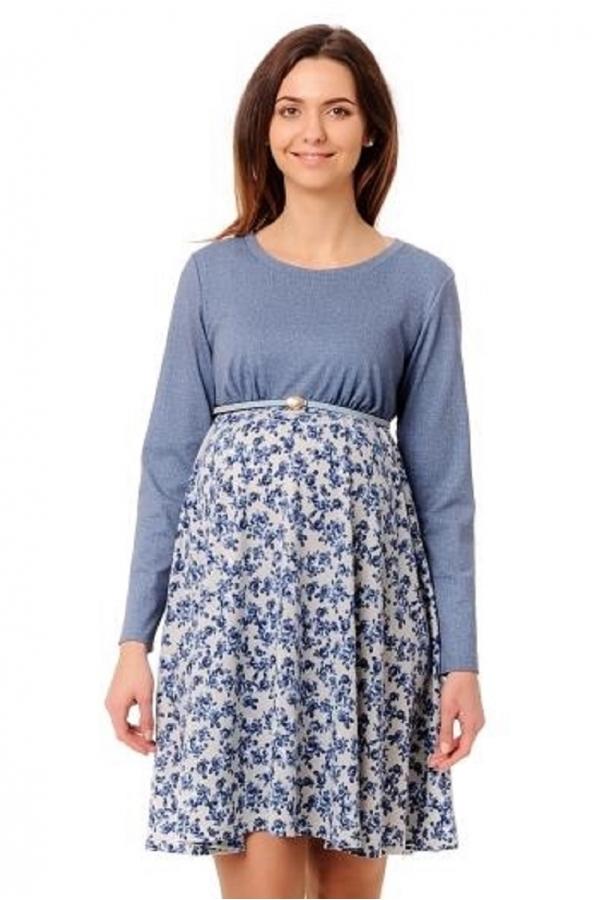 4485.3374 Платье Х-образного силуэта флора сине-серый+голубой меланж