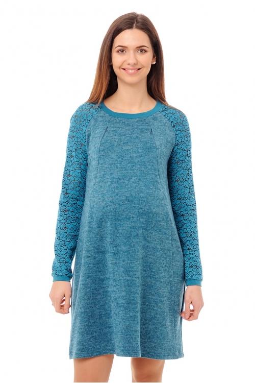 4490.4231 Платье прямого силуэта для кормления бирюзовый меланж