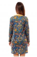 4490.4232 Платье прямого силуэта для кормления флора золотисто-бирюзовый+медовый