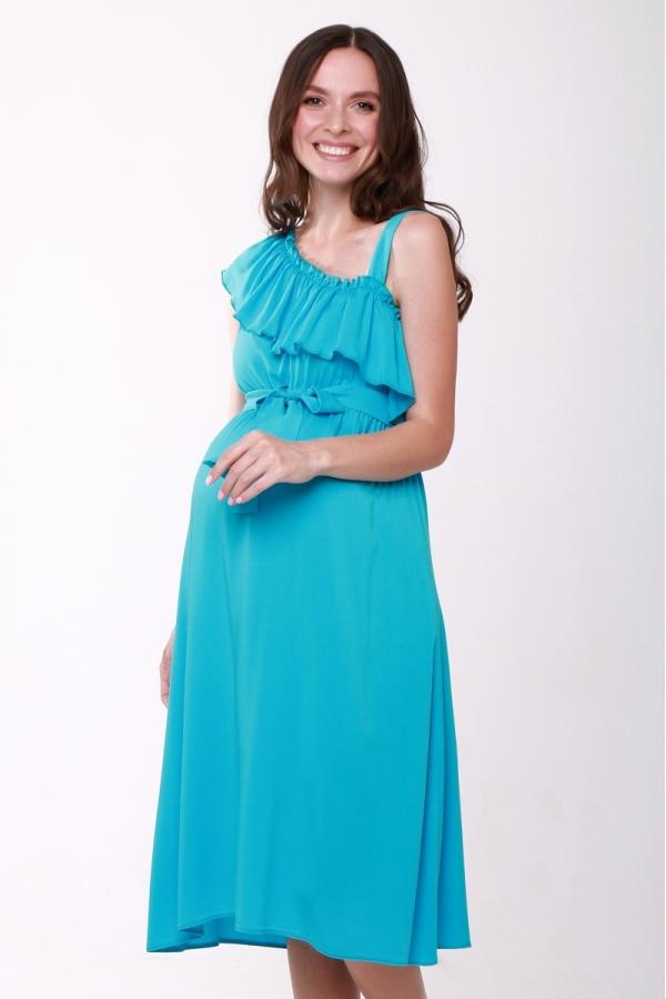 4503.4426 Платье Х-образного силуэта с поясом бирюза