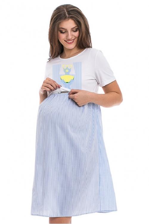 4526.2039 Платье Х-образного силуэта для кормления с принтом белый+геометрия бело-голубой
