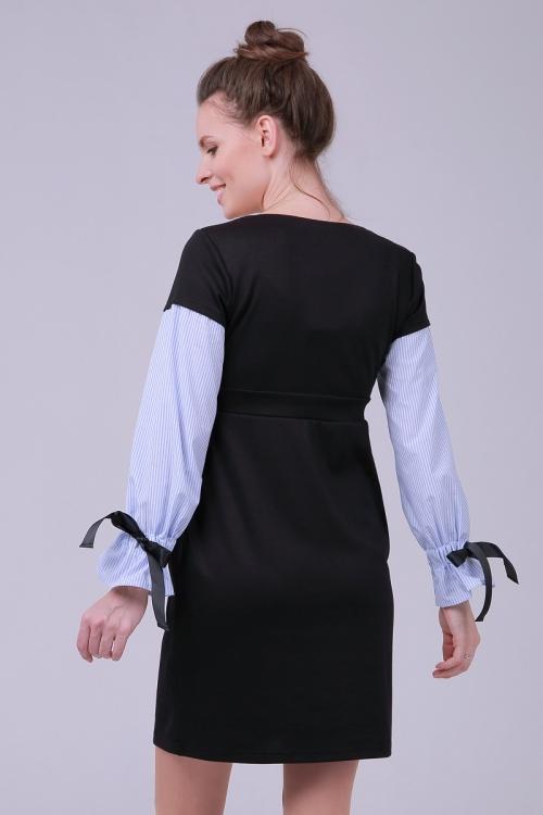 4546.4109 Платье Х-образного силуэта черный+геметрия бело-голубой