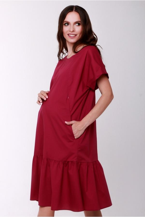 4551.2326 Стильное платье для кормления свободного кроя с вырезом сливовый