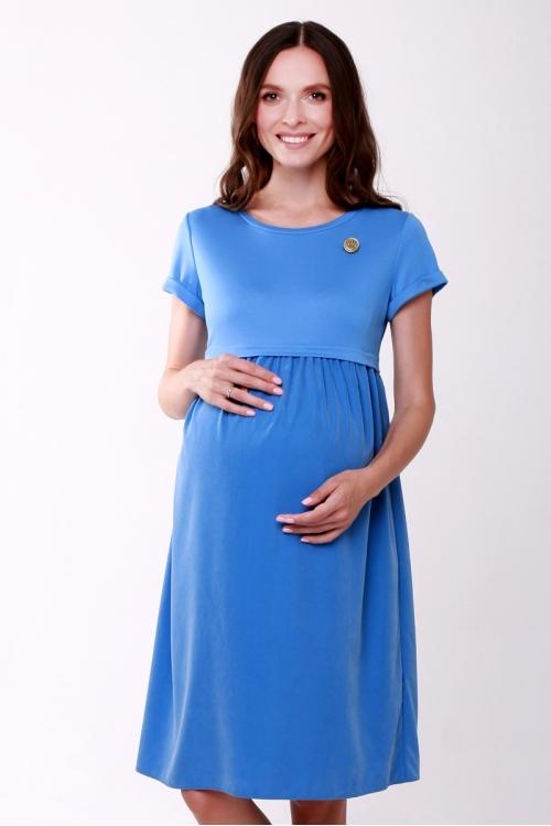 4554.4060 Платье Х-образного силуэта с брошью для кормления голубой