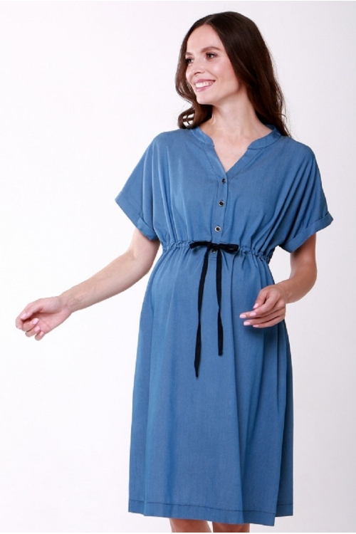 4555.343 Платье Х-образного силуэта для кормления джинс темно-голубой