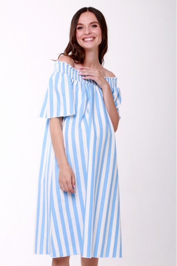 4558.2122 Платье свободного силуэта с поясом бело-голубой