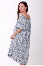 4558.4428 Платье свободного силуэта с поясом бело-синий принт