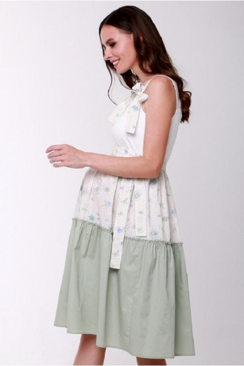 4562.2321 Платье Х-образного силуэта для кормления молочный+фисташковый