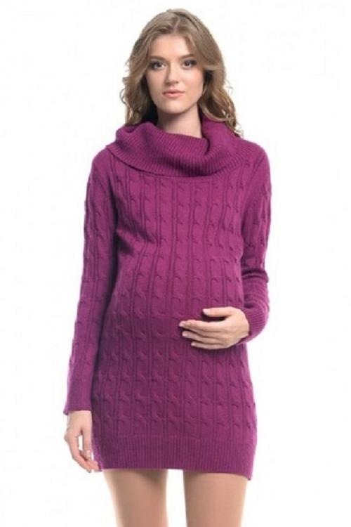 4923.0034 Платье-туника вязаное с косами винный