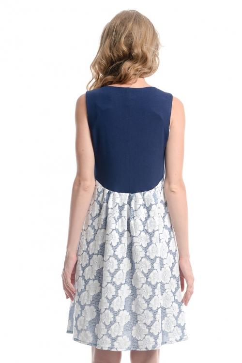 5044.4088 Сарафан комбинированный Х-образного силуэта  принт флора бело-голубой+тёмно-синий