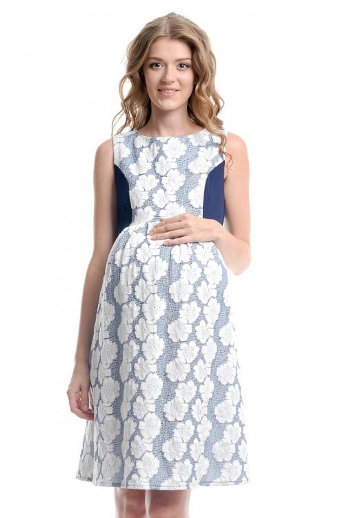 5044.4088 Платье-сарафан для беременных цветочный принт/синий