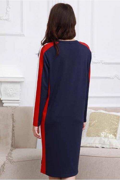 2-НМ 53611 Платье комбинированное для беременных и кормящих синий/белый/красный